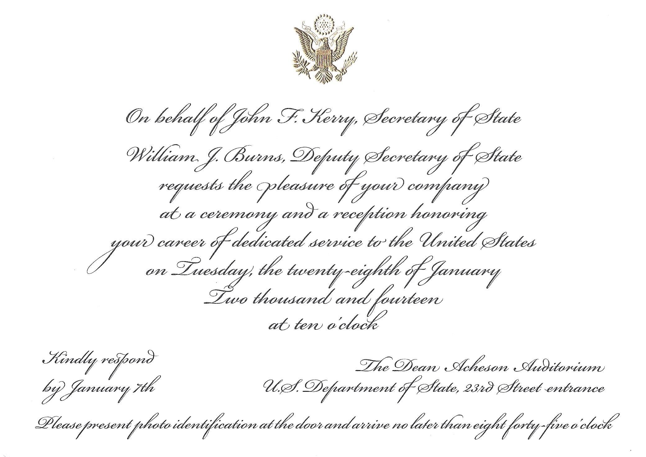 An Invitation To The State Department And Defining Dedicated - Birthday invitation on mail